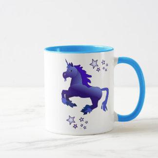 Cartoon Blue Unicorn and Stars Mug