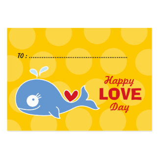 Cartoon Blue Whale Photo Kids Classroom Valentine Large Business Card