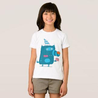 Cartoon Blue Wolf Girls T-Shirt
