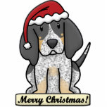 "Cartoon Bluetick Coonhound Christmas Ornament<br><div class=""desc"">Adorable Bluetick Coonhound Christmas Ornament featuring the hound wearing a red Santa hat. The sign underneath him reads,  &quot;Merry Christmas!&quot; Cute dog lover drawing will look adorable on your Xmas tree!</div>"