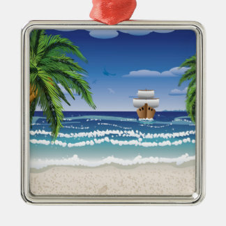 Cartoon boat and beach 2 metal ornament