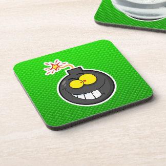 Cartoon Bomb; Green Beverage Coaster