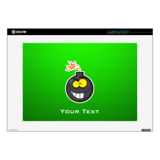 "Cartoon Bomb; Green Decal For 15"" Laptop"