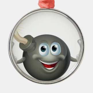 Cartoon bomb man Silver-Colored round decoration