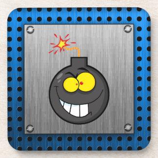 Cartoon Bomb; Metal-look Coaster