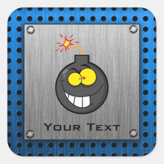 Cartoon Bomb; Metal-look Square Sticker