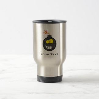 Cartoon Bomb; Metal-look Travel Mug
