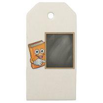 Cartoon Book and School Blackboard Wooden Gift Tags