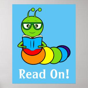 Cartoon Bookworm Posters Photo Prints Zazzle
