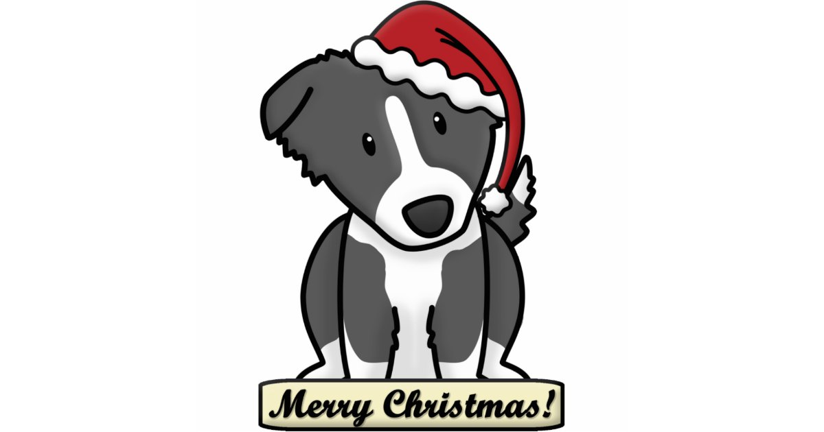 Cartoon Border Collie Christmas Ornament Zazzle Com