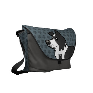 Cartoon Border Collie Messenger Bag