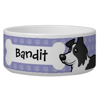 Cartoon Border Collie Pet Bowls
