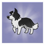 Cartoon Border Collie Poster