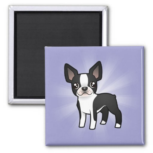Cartoon Boston Terrier 2 Inch Square Magnet