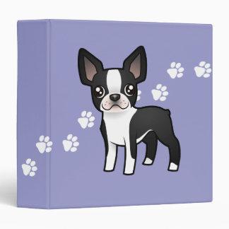 Cartoon Boston Terrier 3 Ring Binder