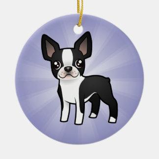 Cartoon Boston Terrier (add your own message) Ceramic Ornament