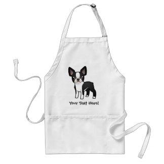 Cartoon Boston Terrier Adult Apron
