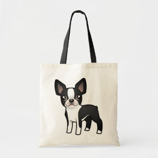 Cartoon Boston Terrier Budget Tote Bag