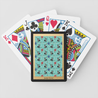 Cartoon Boston Terrier Bicycle Playing Cards