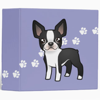 Cartoon Boston Terrier Binder