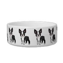 Cartoon Boston Terrier Bowl