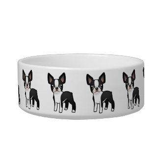 Cartoon Boston Terrier Bowl