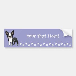 Cartoon Boston Terrier Car Bumper Sticker