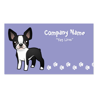 Cartoon Boston Terrier Business Card