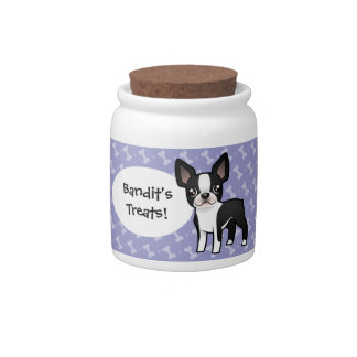 Cartoon Boston Terrier Candy Dishes