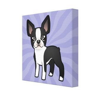 Cartoon Boston Terrier Canvas Print