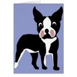 Cartoon Boston Terrier Card