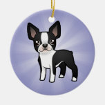 Cartoon Boston Terrier Ceramic Ornament