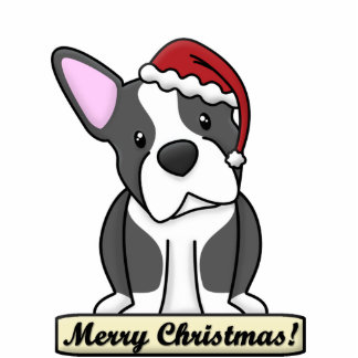 Cartoon Boston Terrier Christmas Ornament Photo Cutouts