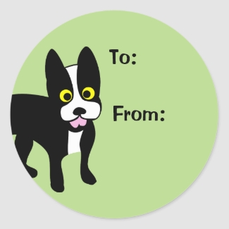 Cartoon Boston Terrier Dog Lover Gift Tag Stickers