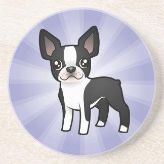 Cartoon Boston Terrier Drink Coaster