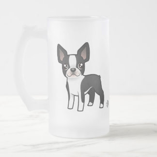Cartoon Boston Terrier Frosted Glass Beer Mug