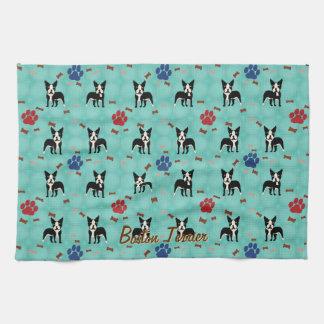 Cartoon Boston Terrier Hand Towels