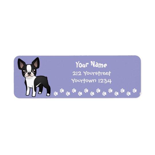 Cartoon Boston Terrier Label