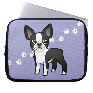 Cartoon Boston Terrier Laptop Sleeve