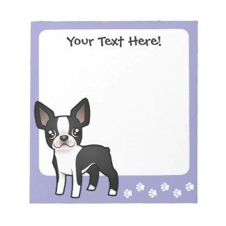 Cartoon Boston Terrier Notepad