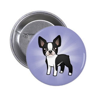 Cartoon Boston Terrier Pinback Button