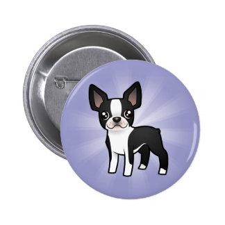 Cartoon Boston Terrier Pinback Button