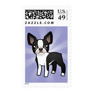 Cartoon Boston Terrier Postage Stamps