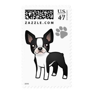 Cartoon Boston Terrier Postage