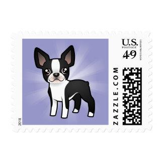 Cartoon Boston Terrier Stamps