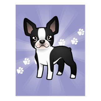 Cartoon Boston Terrier Postcard