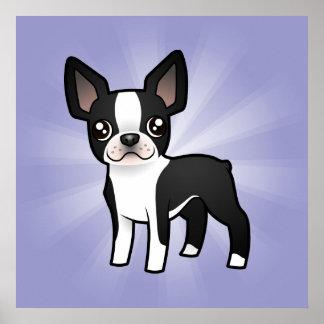 Cartoon Boston Terrier Poster