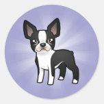Cartoon Boston Terrier Round Sticker