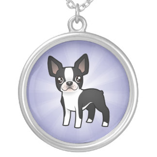 Cartoon Boston Terrier Silver Plated Necklace