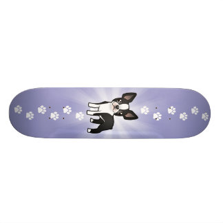 Cartoon Boston Terrier Skateboard Deck